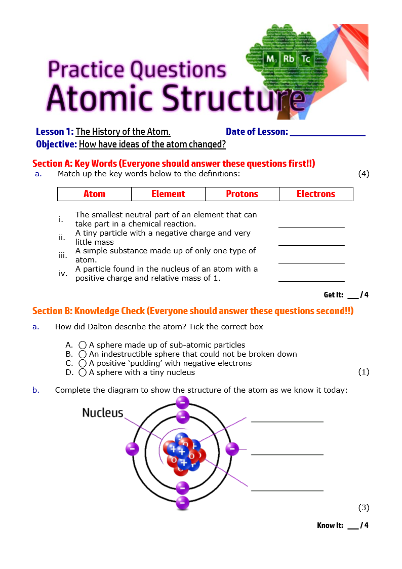 Atomic structure the periodic table atomic structure and the periodic table resources urtaz